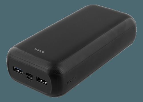 Deltaco 30000mAh PD & QC PowerBank / 2xUSB-A / 1x USB-C / 1x Micro USB - Svart