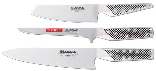 Global Knivset 3 Knivar, Kockkniv, Filékniv,Grönsakskniv