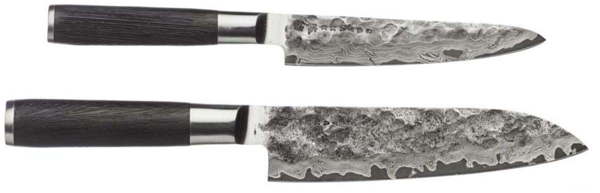 Satake Kuro knivset i två delar, Santoku-kniv (18cm) och Petty-kniv (15 cm)