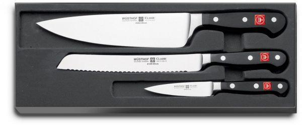 Wüsthof Classic Knivset 3 delar, Kockkniv + Brödkniv + Skalkniv
