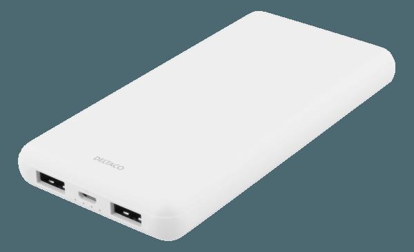 Deltaco 10000mAh PowerBank / USBx2 / 2,1+1A - Vit (Fyndvara - Klass 1)
