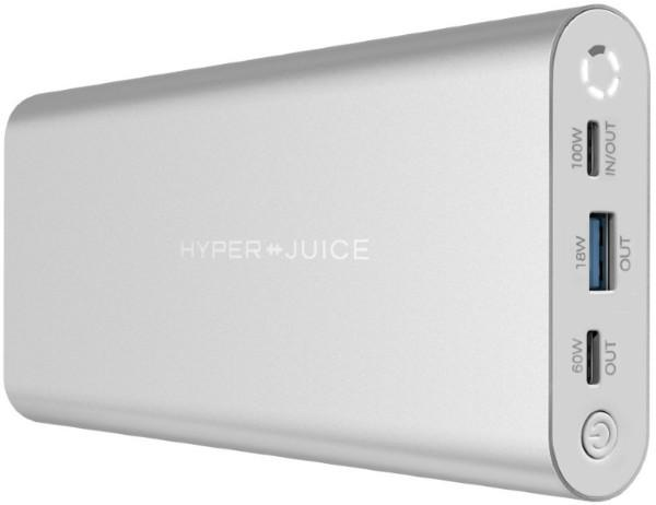 Hyperjuice dual USB-C PD Powerbank 27000mAh 130W QC - Silver