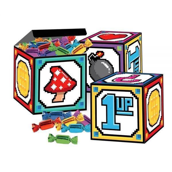 8-bitars Lådor Pappersdekorationer - 3-pack