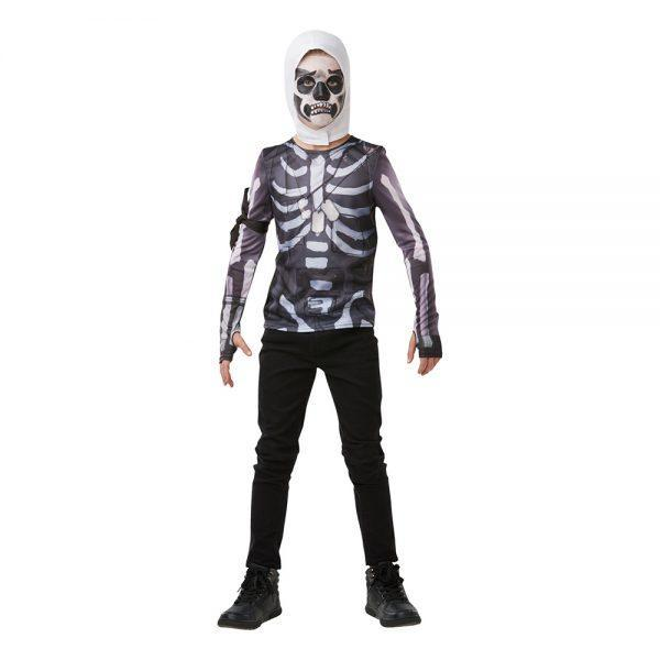 Fortnite Skull Trooper Teen Budget Maskeraddräkt - Small