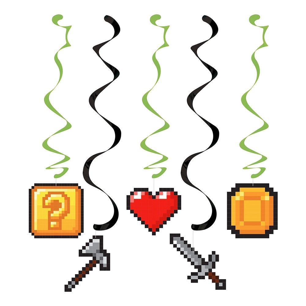 Hängande Dekoration Swirls Gaming Party - 5-pack