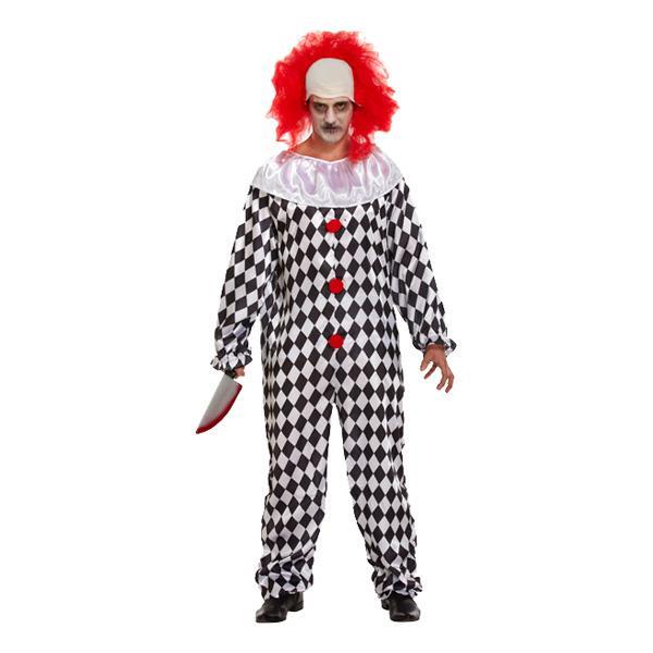 Läskig Clown med Peruk Maskeraddräkt - One size