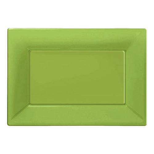 Serveringsfat i Plast Rektangel Limegrön - 3-pack