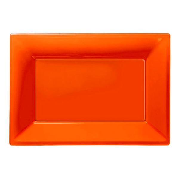 Serveringsfat i Plast Rektangel Orange - 3-pack