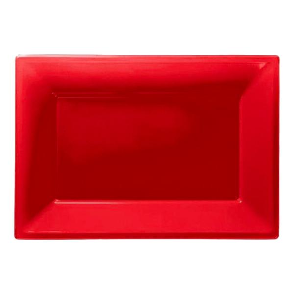 Serveringsfat i Plast Rektangel Röd - 3-pack