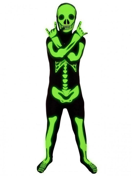 Självlysande Skelett Morphsuit Barn Medium