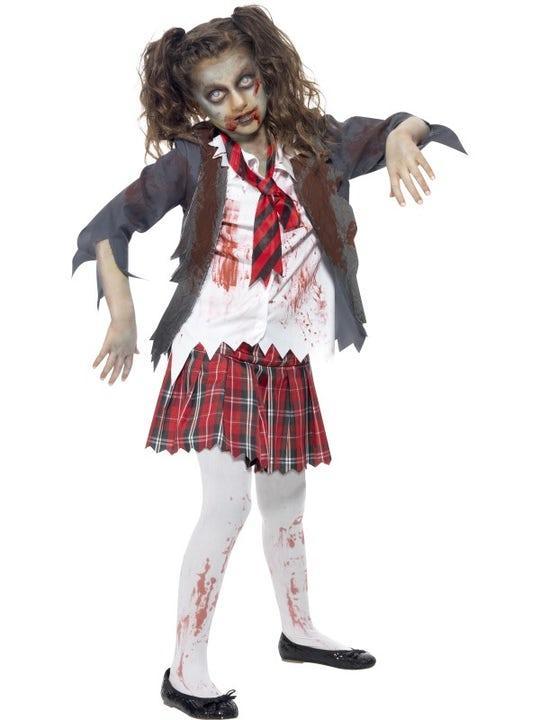 Zombie Skolflicka Maskeraddräkt Barn Medium