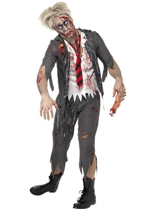 Zombie Skolpojke Maskeraddräkt Small