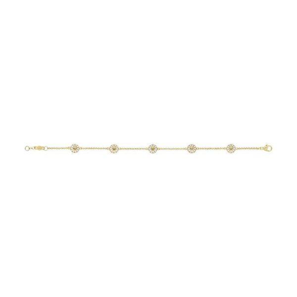 Georg Jensen Daisy Mini Armband Guldpläterat Silver med Vit Emalj