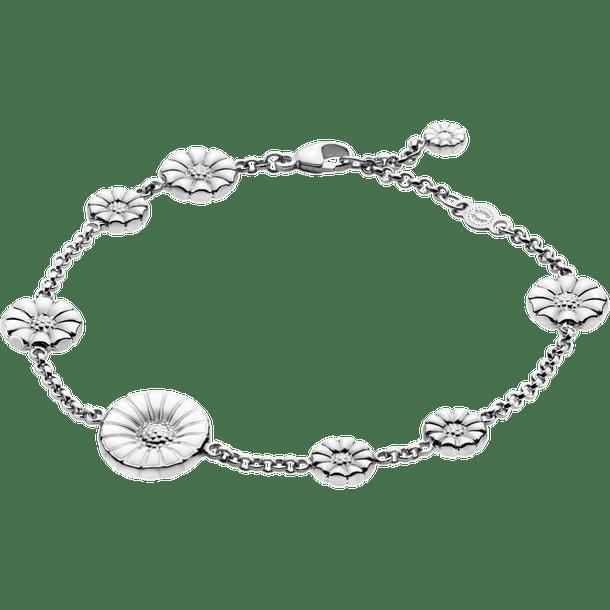 Georg Jensen Daisy Mixat Armband Silver Med Vit Emalj