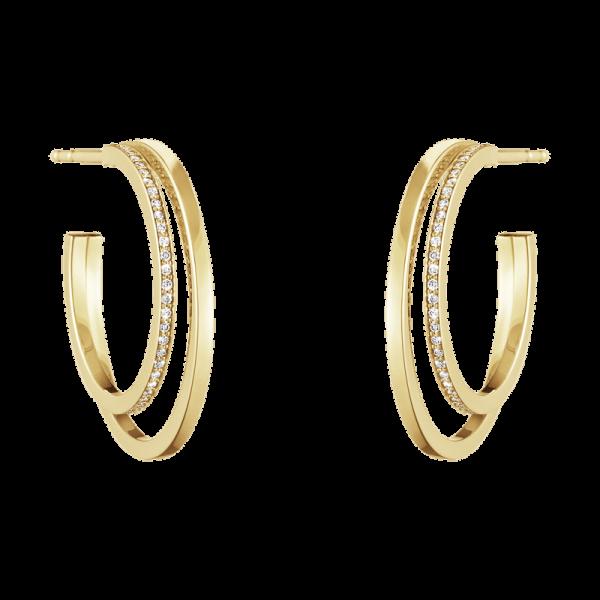 Georg Jensen Halo Örhängen 18K Gult guld med Pavéinfattade Diamanter 0,30 ct