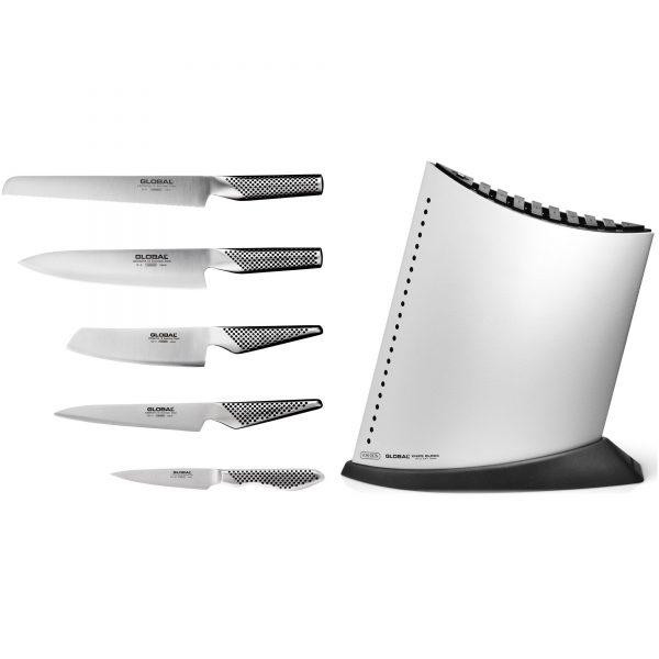 Global Knivset 5 delar med knivblock Vit