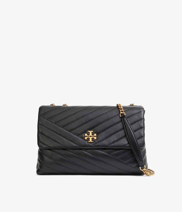 Kira Chevron Convertible Shoulder Bag Black