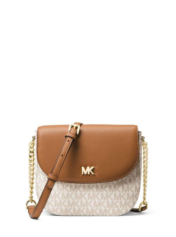 Michael Kors Small Half Dome Crossbody Vanilla/Acorn