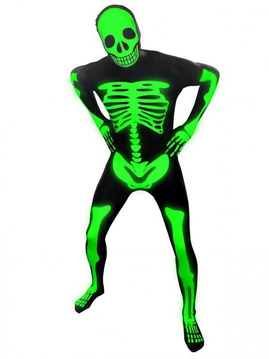 Självlysande Skelett Morphsuit Large