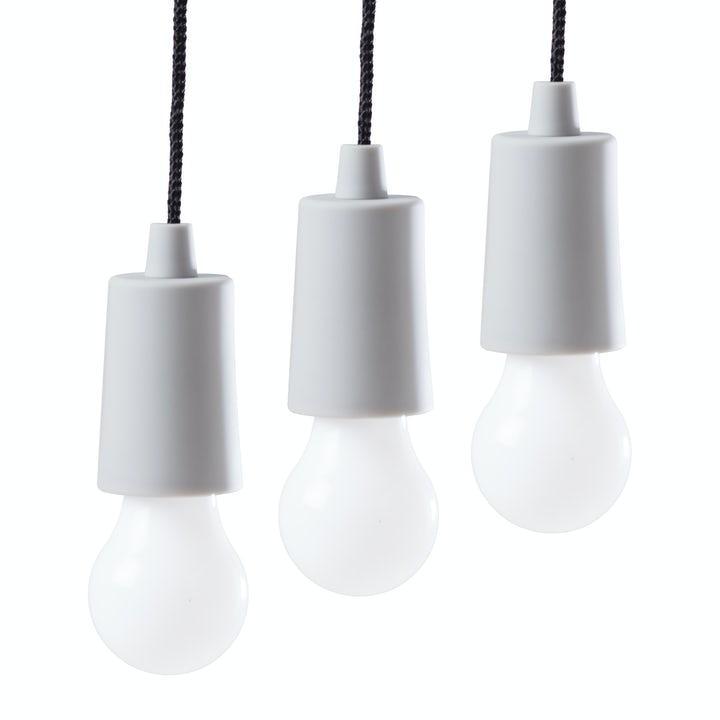 Spralla LED-lampa i Snöre Grå 3-pack