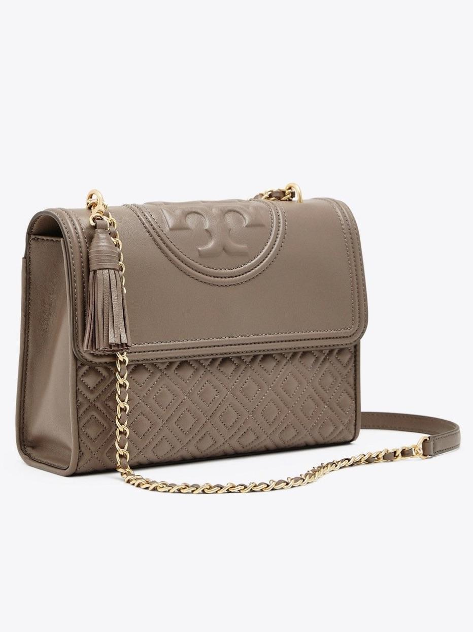 Tory Burch Fleming Small Convertible Shoulder Bag Silver Maple
