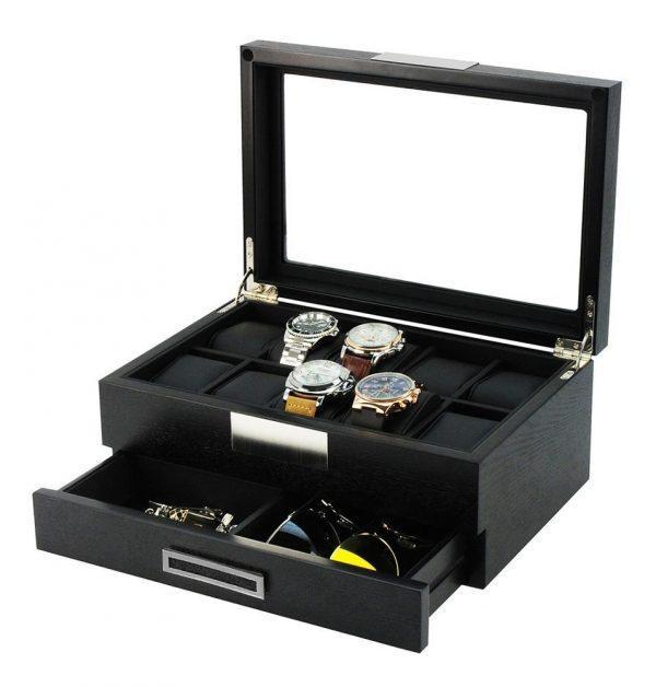 Exklusiv Klocklåda Med Glaslock - 10 klockor