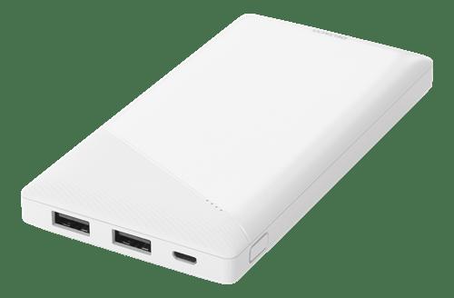 Deltaco Powerbank 10000 mAh, 2.1 A/10.5 W, 37 Wh, 2x USB-A - Vit