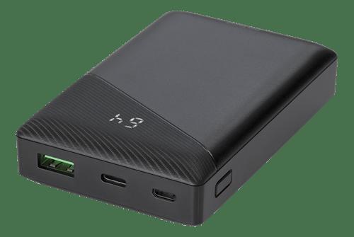 Deltaco Powerbank 10000 mAh, 3 A/18 W, 37 Wh, 1x USB-A snabbladdning, 1x USB-C PD - Svart