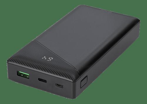 Deltaco Powerbank 20000 mAh, 3 A/18 W, 74 Wh, 1x USB-A snabbladdning, 1x USB-C PD - Svart