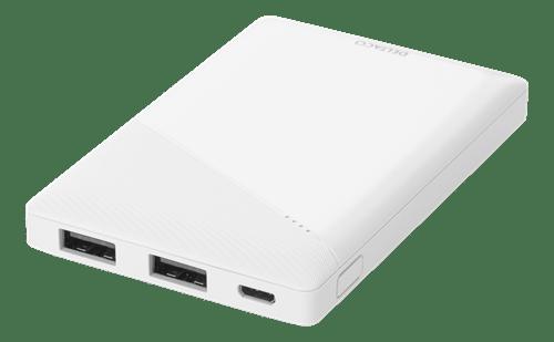 Deltaco Powerbank 5000 mAh, 2.1 A/10.5 W, 18.5 Wh, 2x USB-A - Vit