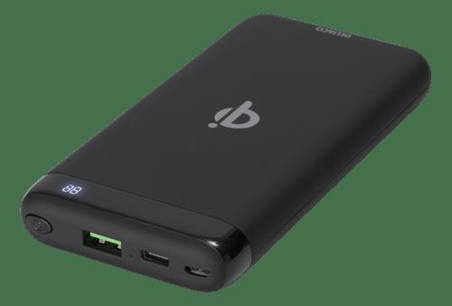 Deltaco Trådlös Powerbank med snabbladdning Qi, 1x USB-A snabbladdning, 1x USB-C PD, 10000 mAh, 37 W