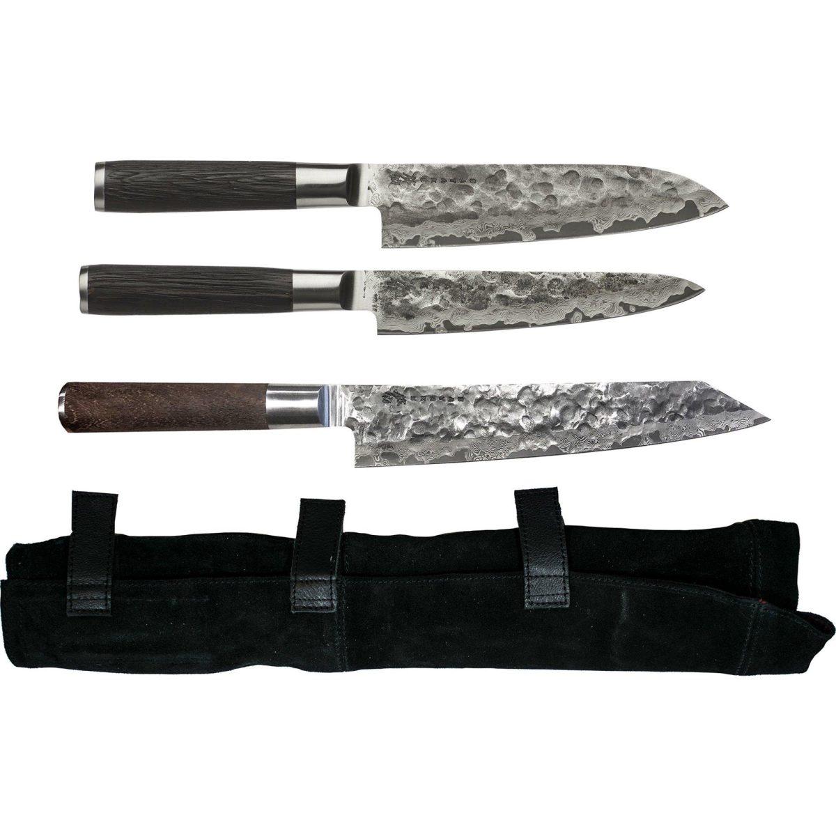 Satake Kuru knivset, 3 delar med knivfodral