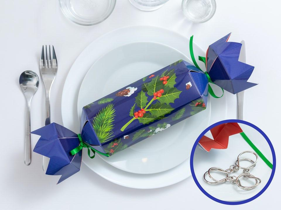 Christmas Crackers med Metallpussel 4-pack