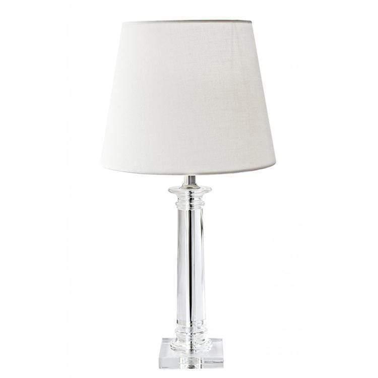 CELINE bordslampa i kristall med vit skärm