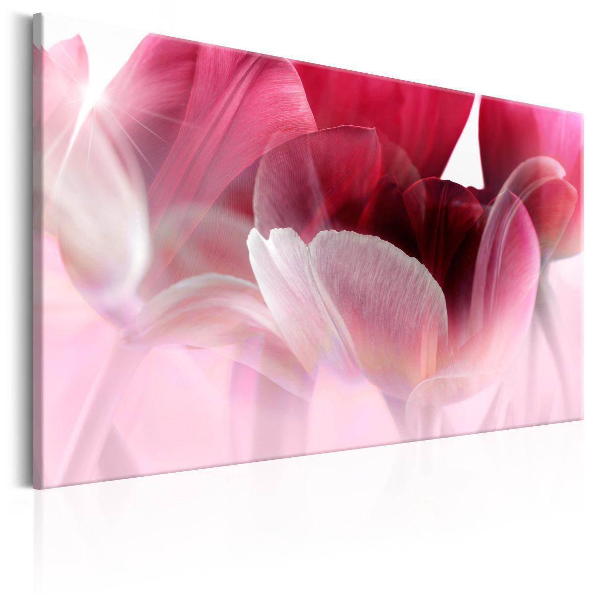 Canvas Tavla - Nature: Pink Tulips - 90x60
