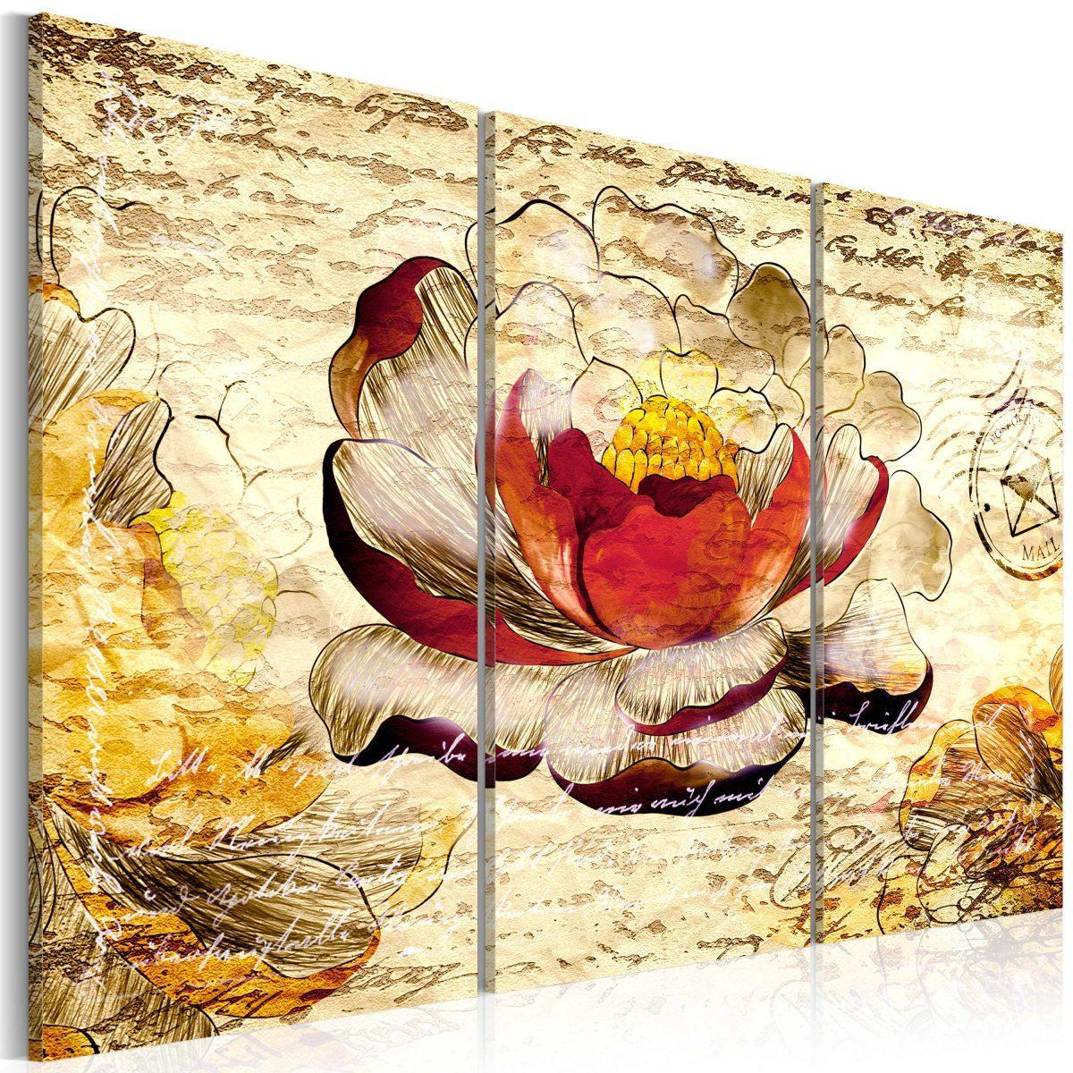 Canvas Tavla - Retro flower - 60x40