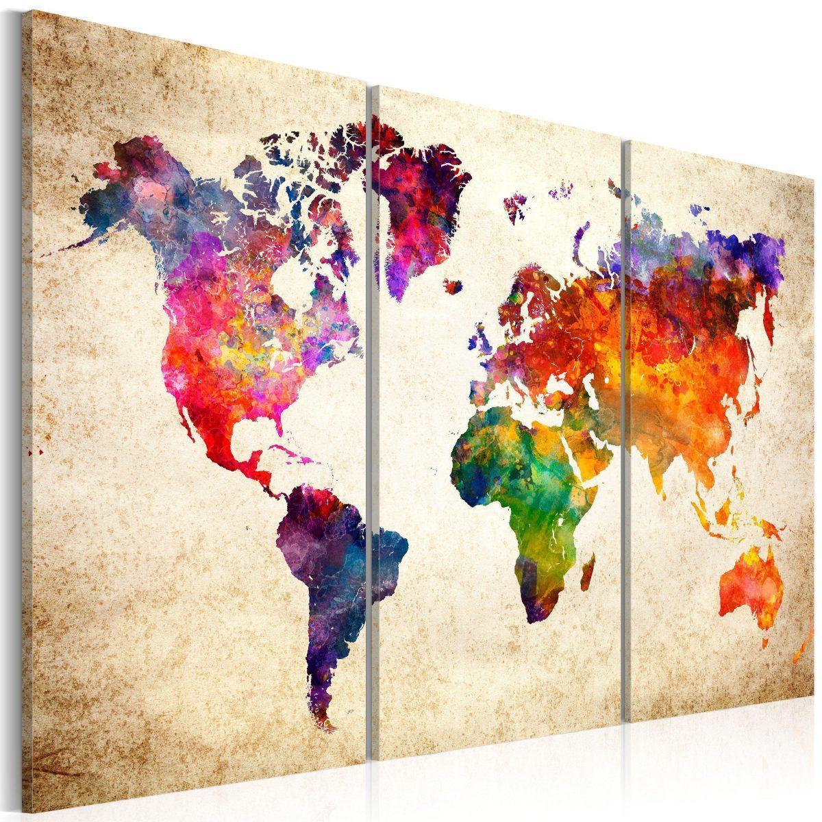 Canvas Tavla - The World's Map in Watercolor - 90x60