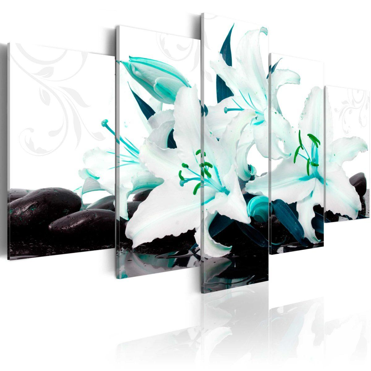 Canvas Tavla - Turquoise lilies and stones - 100x50