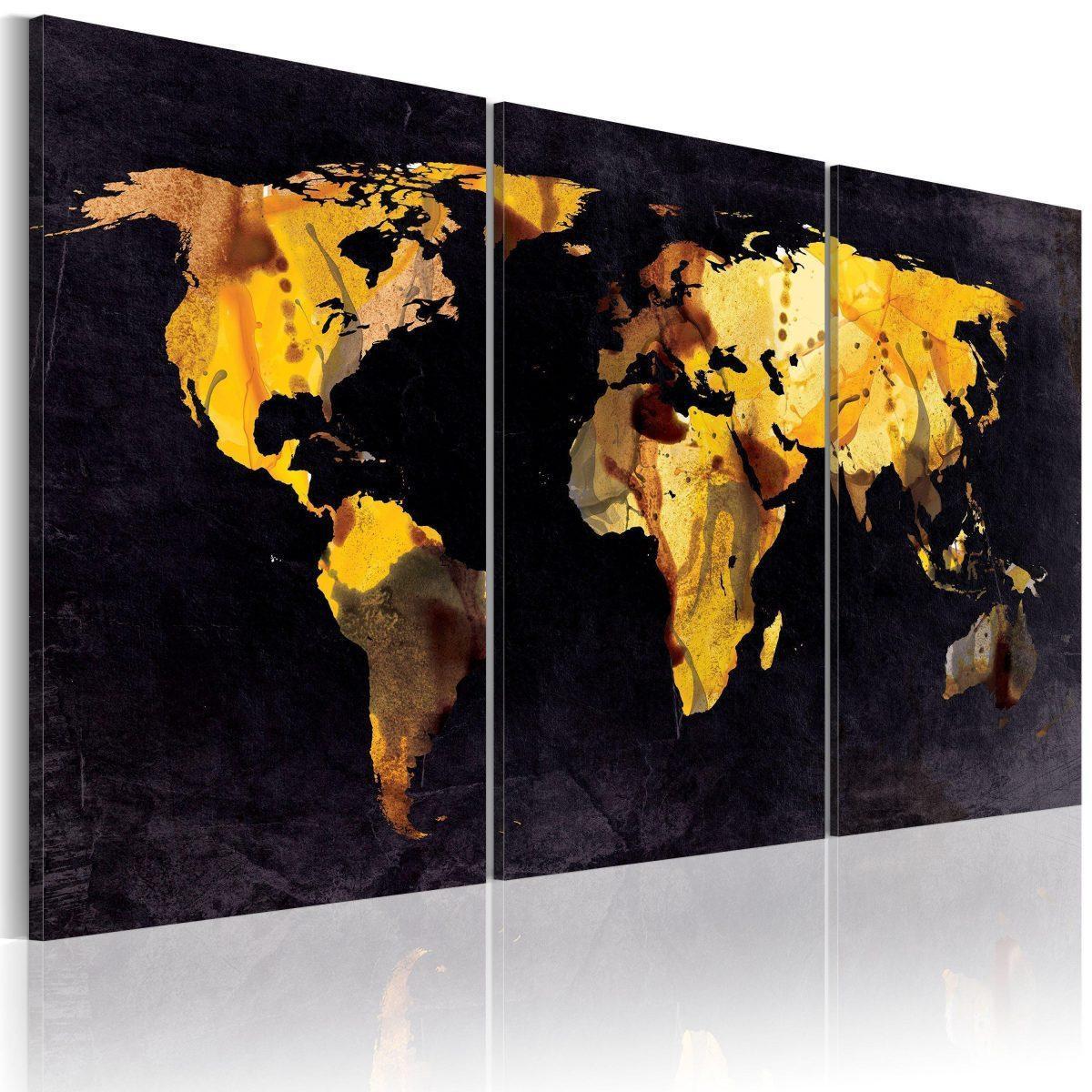 Canvas Tavla - Världskartan - kvicksand - 60x30
