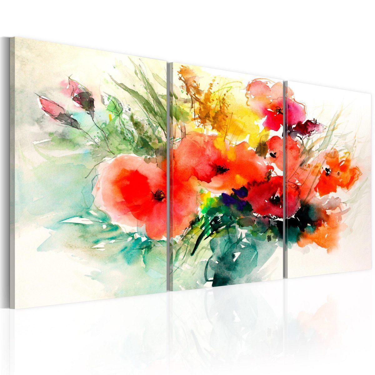 Canvas Tavla - Watercolor Bouquet - 60x30