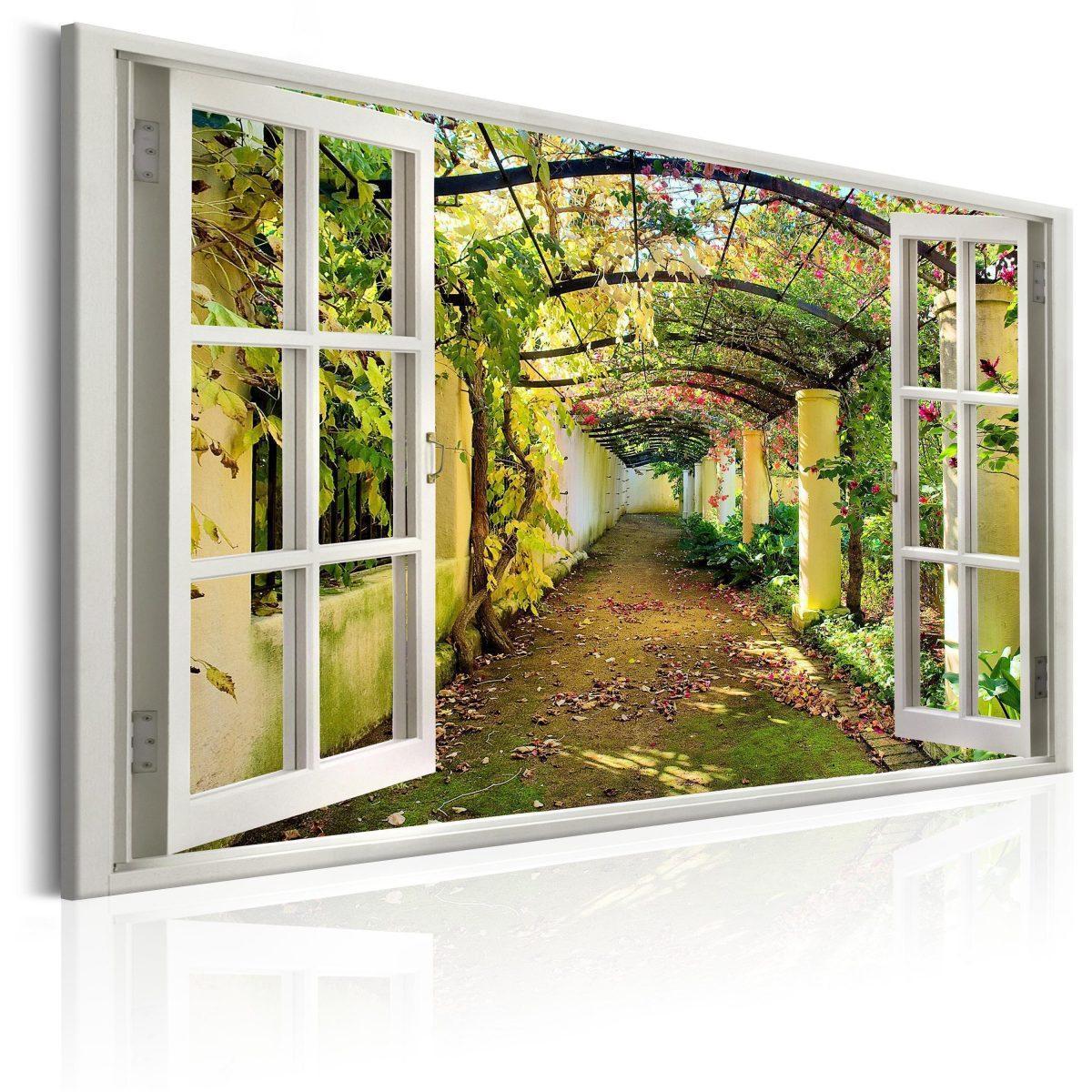 Canvas Tavla - Window: View on Pergola - 90x60
