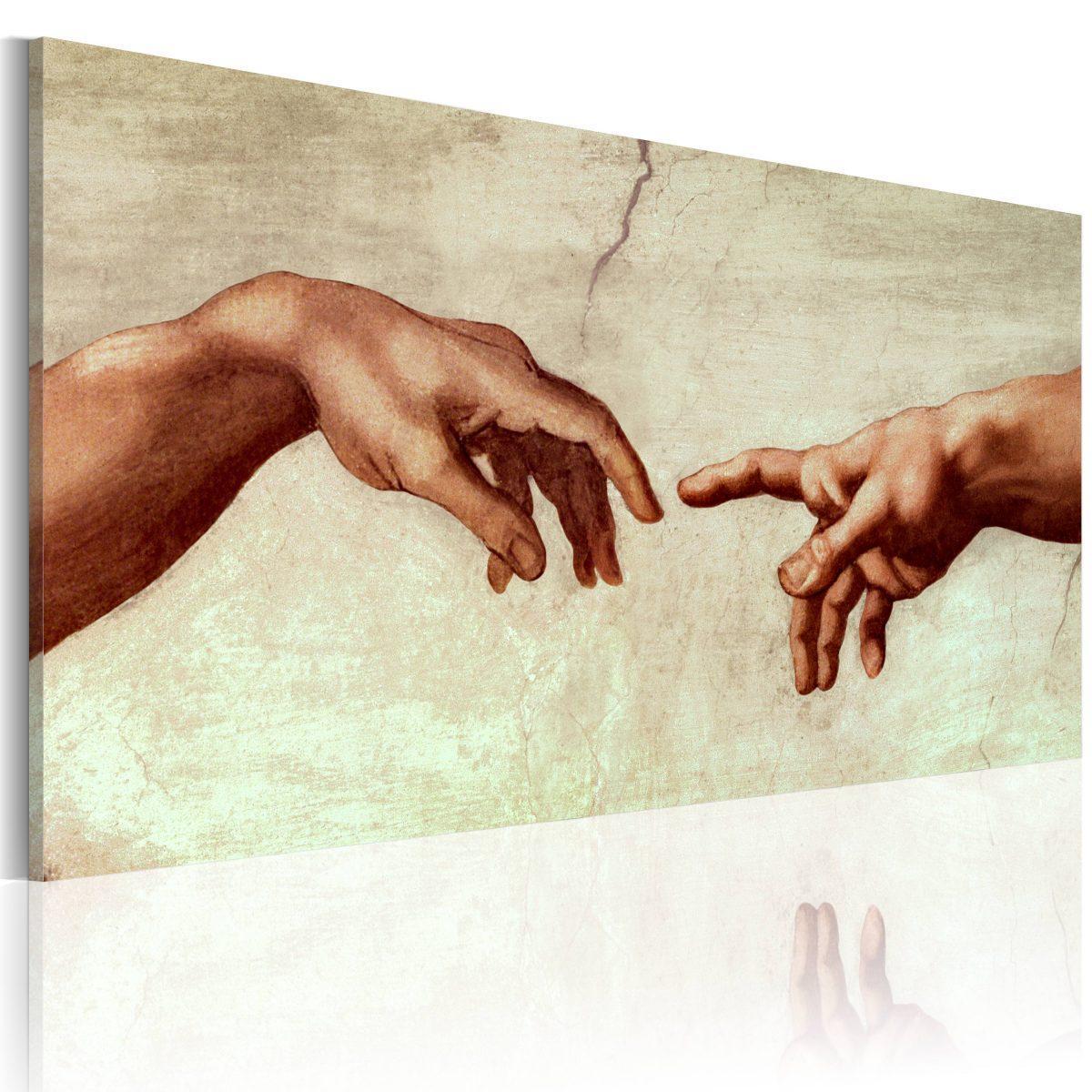 Handmålad tavla - Skapandet av Adam: fragment av målning