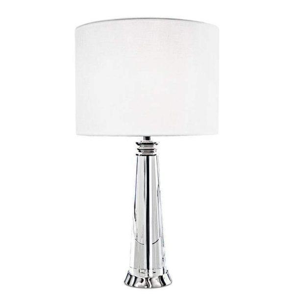OPHELIA bordslampa i kristall med vit skärm