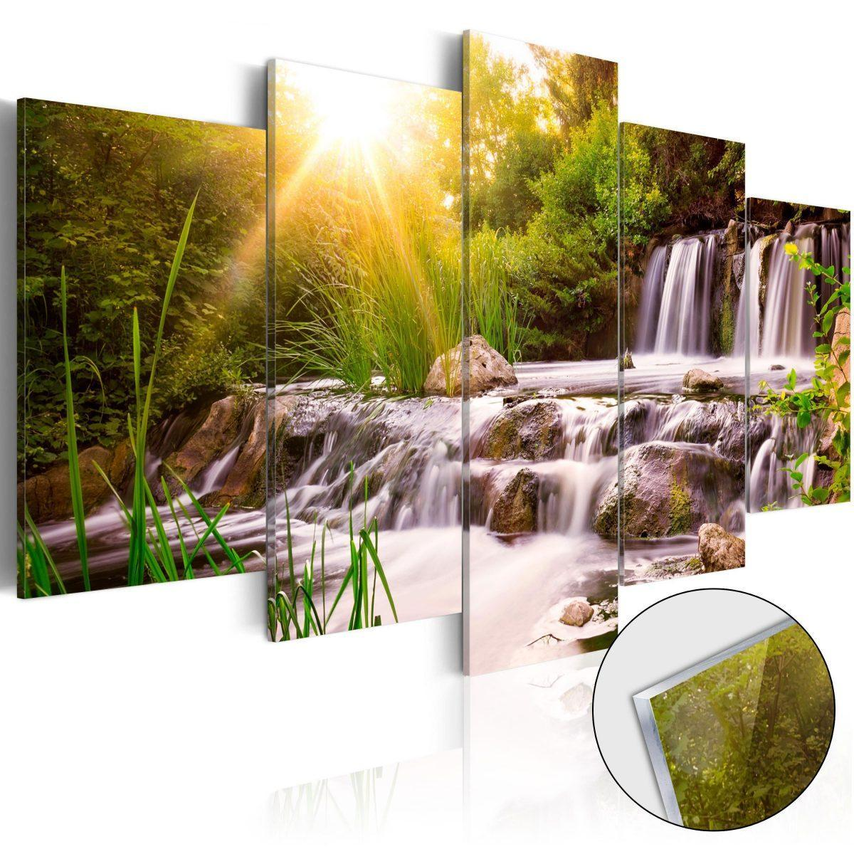 Tavla i akrylglas - Forest Waterfall - 100x50