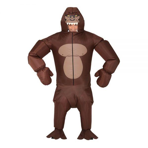 Uppblåsbar Gorilla Brun Maskeraddräkt - One Size