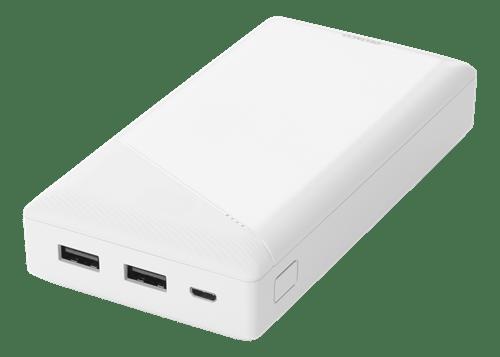 Deltaco Powerbank 20000 mAh, 2.1 A/10.5 W, 74 Wh, 2x USB-A - Vit (Kartongskada)
