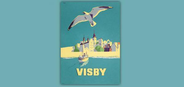 Affisch Visby med mås och båt 50x70