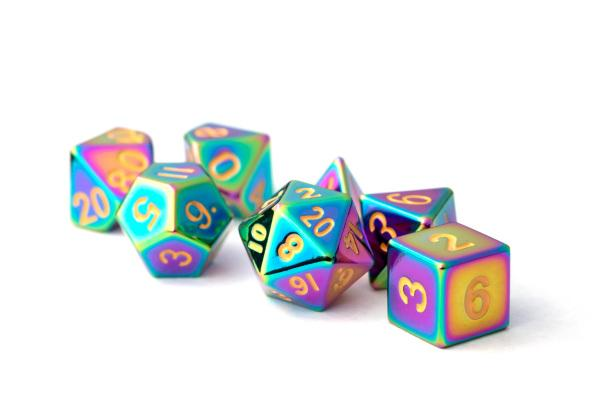 Metal Dice Set Torched Rainbow 16mm (7 st)