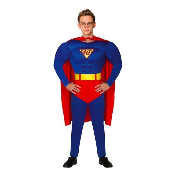 Superhjälte med Muskler Blå/Röd Teen Maskeraddräkt - One size