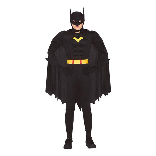 Superhjälte med Muskler Svart Teen Maskeraddräkt - One size